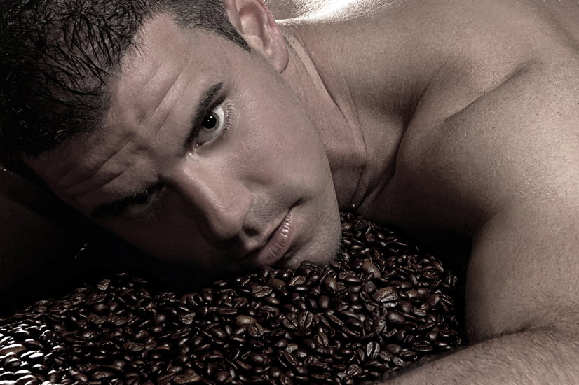 man in coffee beans